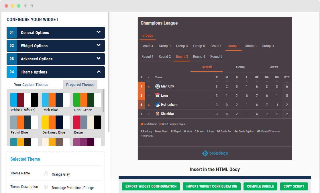 Sports Data Company, Widgets and API