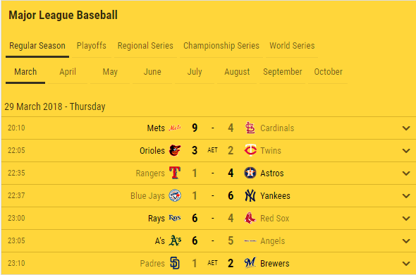 baseball fixtures results advanced navigation options 2