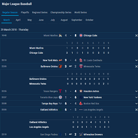 baseball fixtures and results