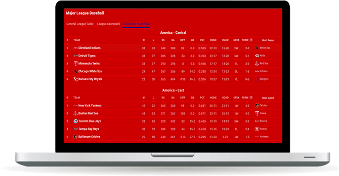 baseball standings widget overview
