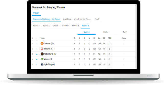 handball standings widget overview