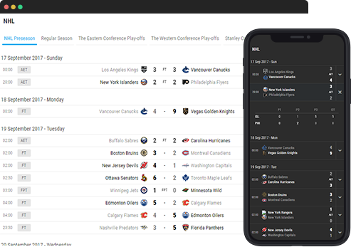 sport widgets ice hockey fixture results)