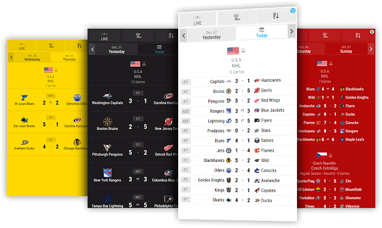 ice hockey livescores desktop and mobile