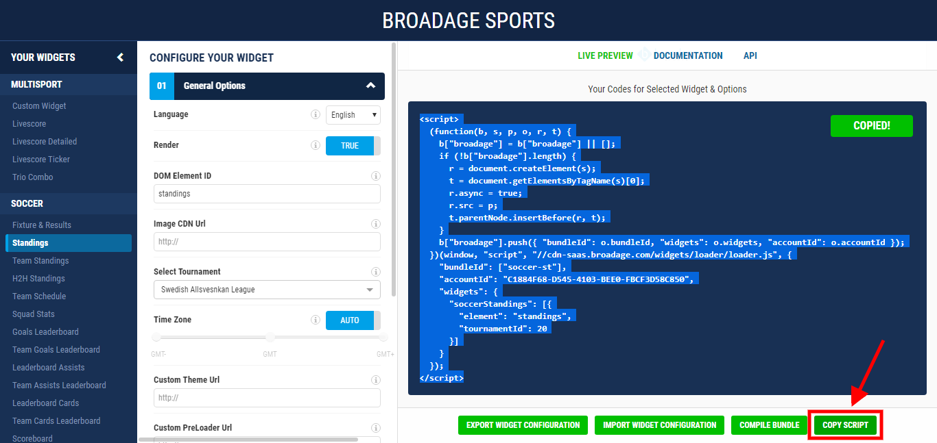 broadage sports how to run your widget in html 1