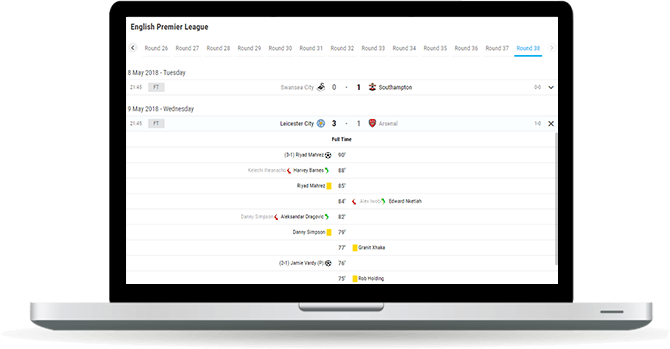 soccer fixtures and results widget overview