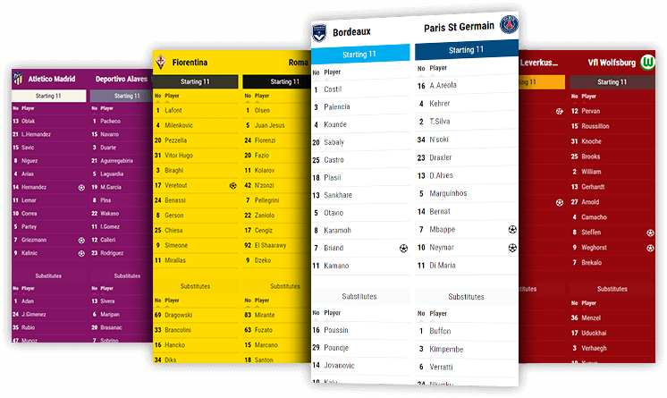 Soccer Lineups Widget, Substitutes Data API XML Feed