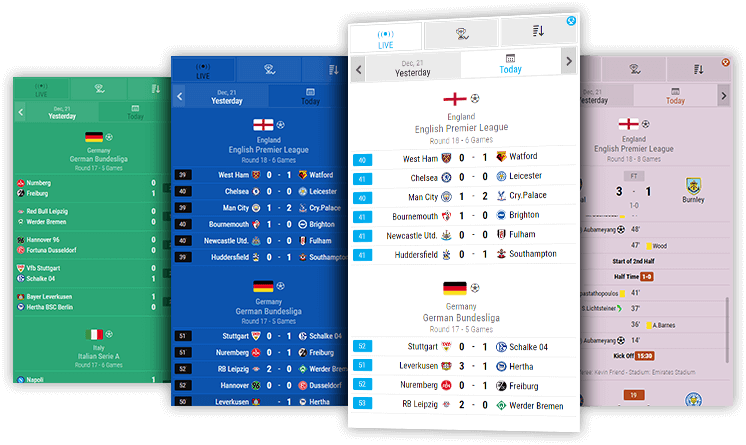 Soccer Livescore Widgets, Live Widget, Livescore API XML Feeds