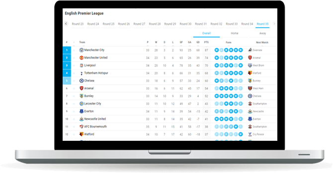 soccer standings widget overview