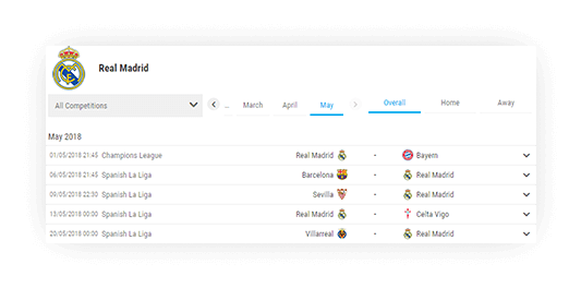 soccer team schedule filtering fixture with data 1