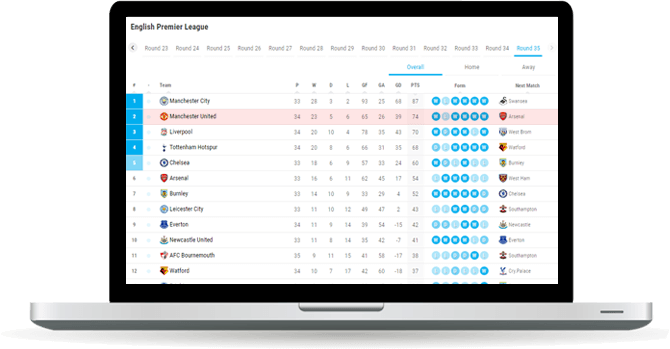 soccer team standings widget overview