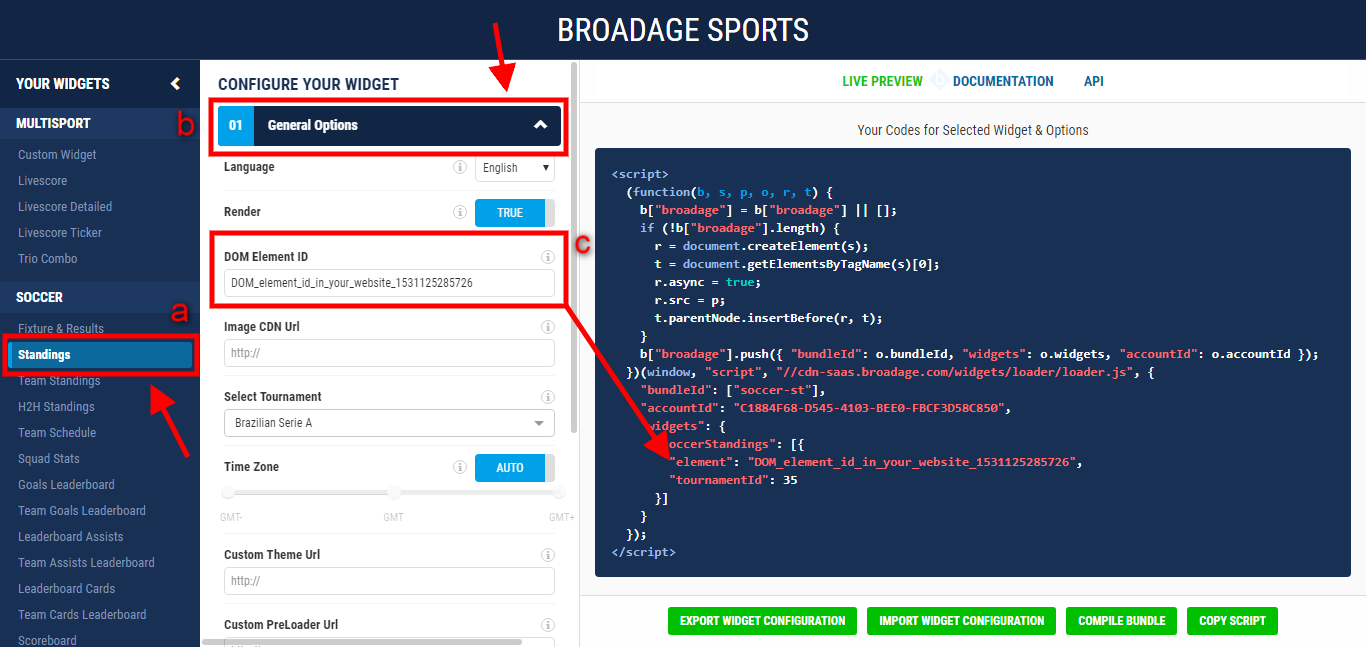 broadage sports how to use coverage in your widget