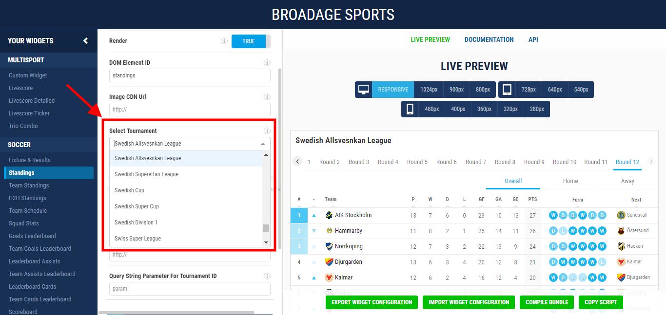 broadage sports how to setup your widgets 2